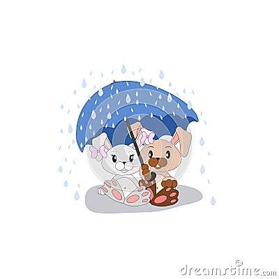Cartoon bunnies under umbrella