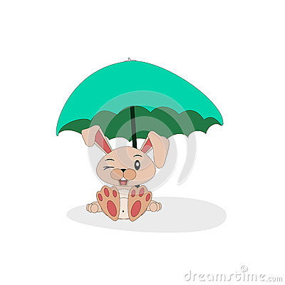 Cartoon bunny with sunshade