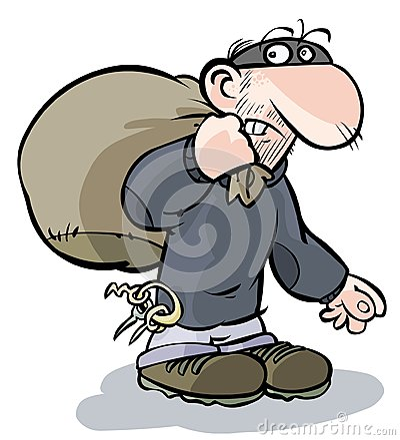 Free Cartoon Burglar. Royalty Free Stock Photography - 28905007