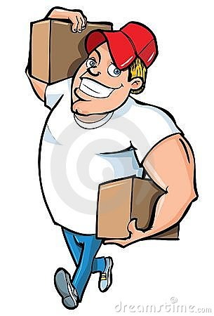 Cartoon of burly delivery man