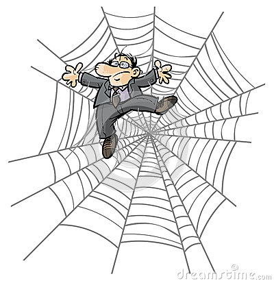 Free Cartoon Business Man In Spider Web. Stock Images - 31544854
