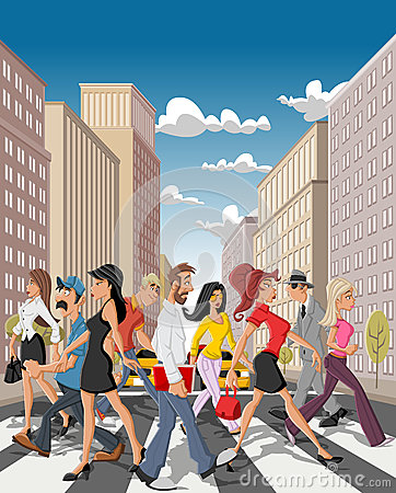 Cartoon business people crossing a downtown street