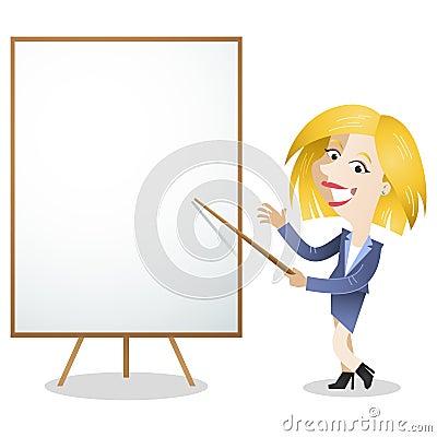 Cartoon business woman blank white board