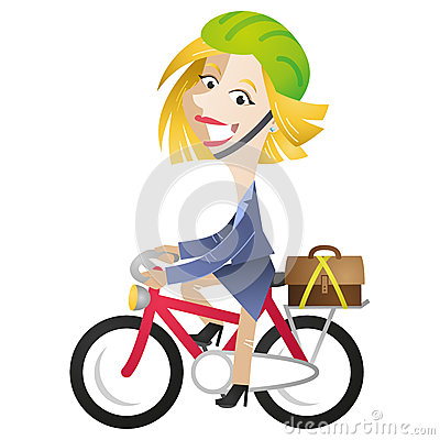 Cartoon business woman riding bike commuting