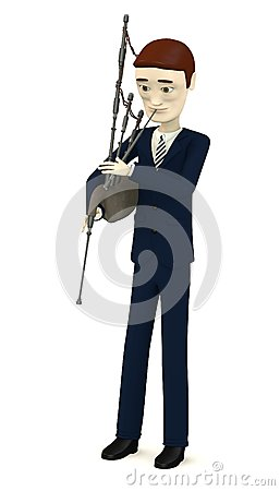Cartoon businessman with bagpipe