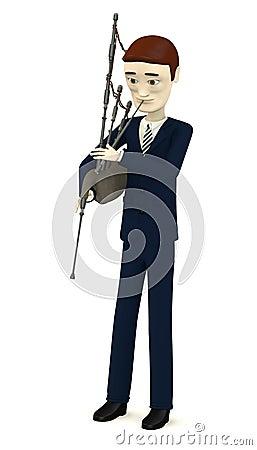 Cartoon businessman with bagpipe