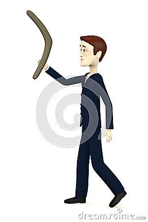 Cartoon businessman with boomerang