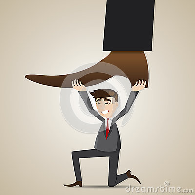 Cartoon businessman carry stomping foot