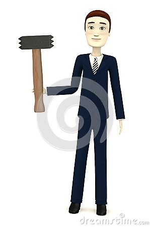 Cartoon businessman with hammer - for stonework