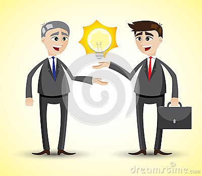Cartoon businessman holding idea Vector Illustration