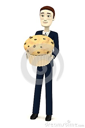 Cartoon businessman with muffin