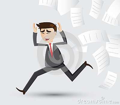 Cartoon businessman running out of document paper Vector Illustration