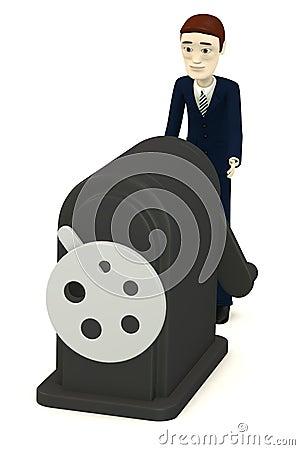 Cartoon businessman with sharpener