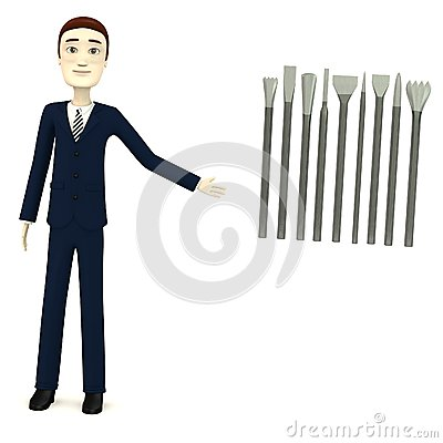 Cartoon businessman with tools for stonework