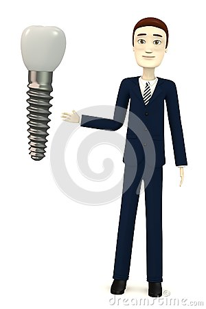 Cartoon businessman with tooth implant