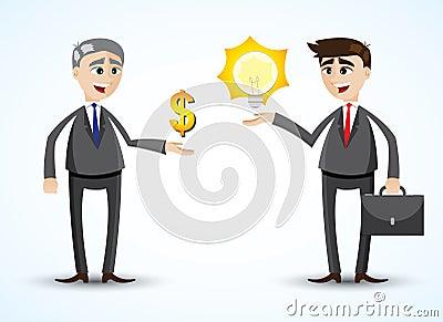 Cartoon businessman trading idea Vector Illustration