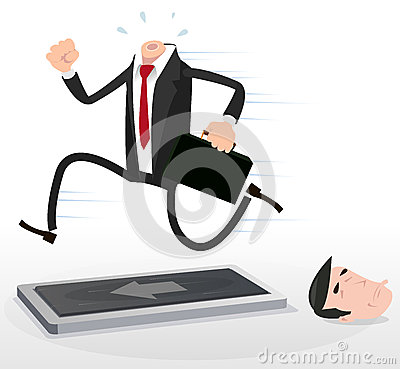 Cartoon Businessman On A Treadmill