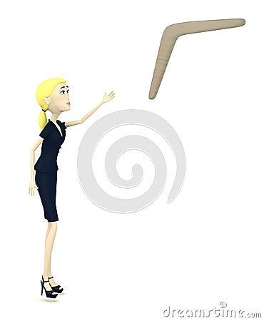 Cartoon businesswoman with boomerang