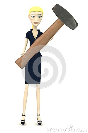 Cartoon businesswoman with hammer - for stonework