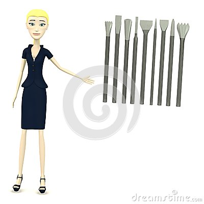 Cartoon businesswoman with tools for stonework