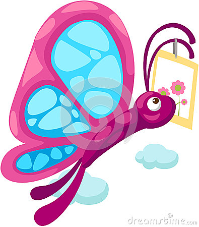 Cartoon butterfly carry card