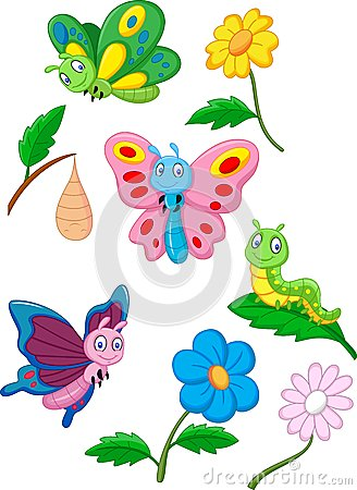 Free Cartoon Butterfly, Caterpillar And Cocoon Royalty Free Stock Photography - 45856827