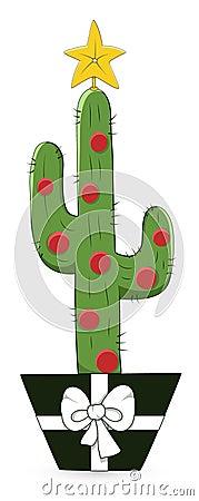 Cartoon Cactus - Christmas Vector Illustration Stock Photography - Image: 30371642