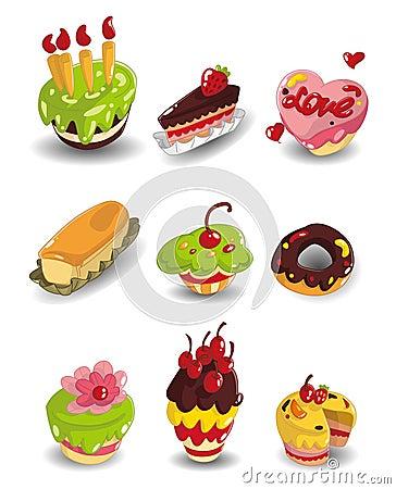 Cartoon cake icons set