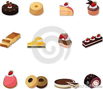 Fairy Birthday Cake on Cartoon Cake Icons Set Royalty Free Stock Photography   Image