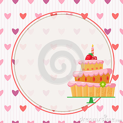 Cartoon cake with red strawberries Vector Illustration