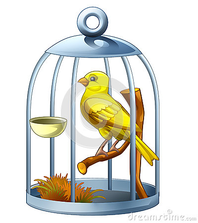 Cartoon Canary In Cage