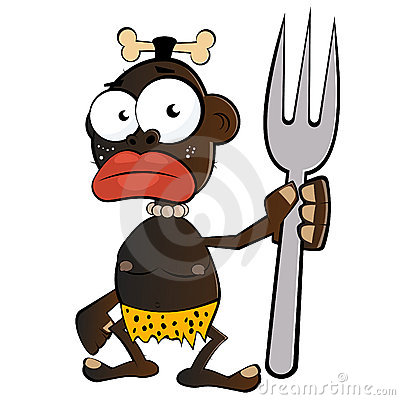 illustrated cartoon of a black cannibal holding a large fork with a