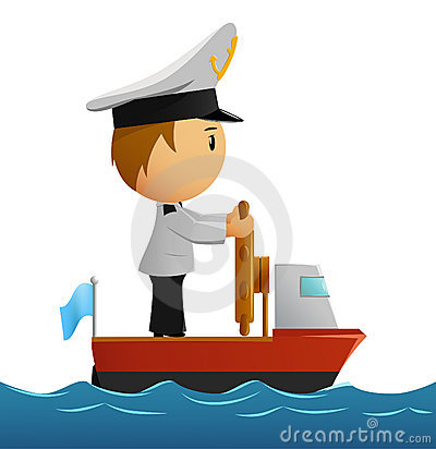 Free Cartoon Captain Sailor In Uniform On The Ship Royalty Free Stock Images - 16232009