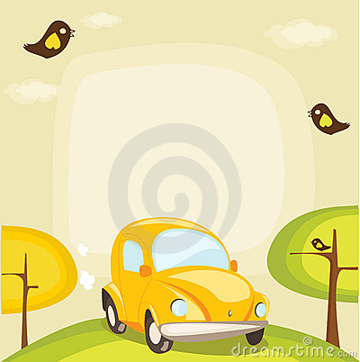 Cartoon car background with place for your text