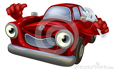 Cartoon car with spanner stock vector image 56185754 for Location garage reparation voiture