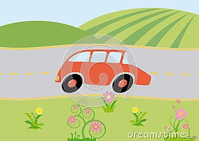 Cartoon car on-the-way