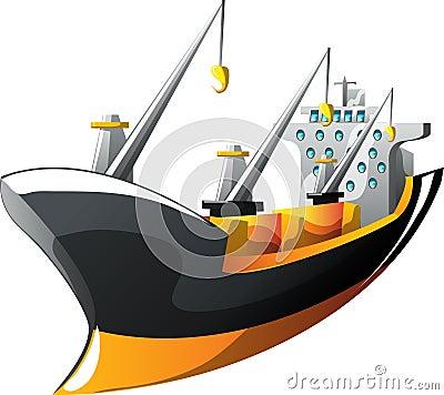 Cartoon cargo ship