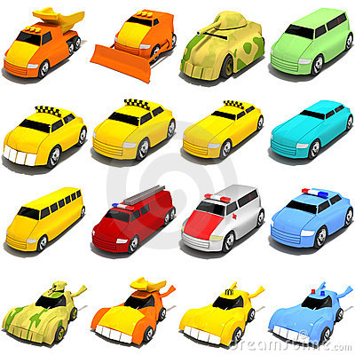 Free Cartoon Cars Mix Royalty Free Stock Photos - 4123638