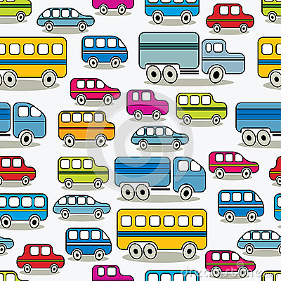 Cartoon cars seamless pattern.