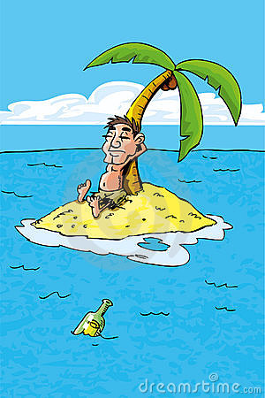 Cartoon of castaway on a desert island
