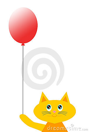 Cartoon Cat with Balloon