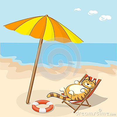 Cartoon cat on the beach stock vector image 57254199 for Chaise game free download