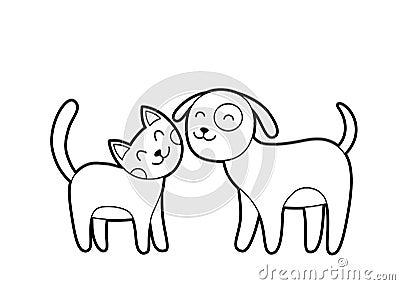 Cartoon Cat And Dog Sketch Stock Photos Image 37824293