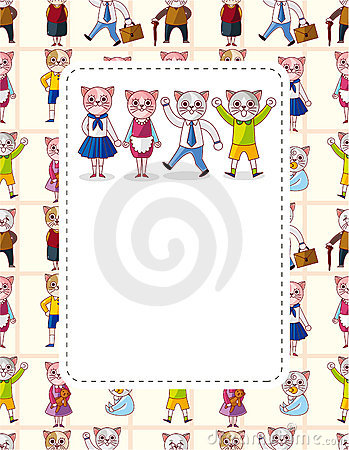 Cartoon cat family card