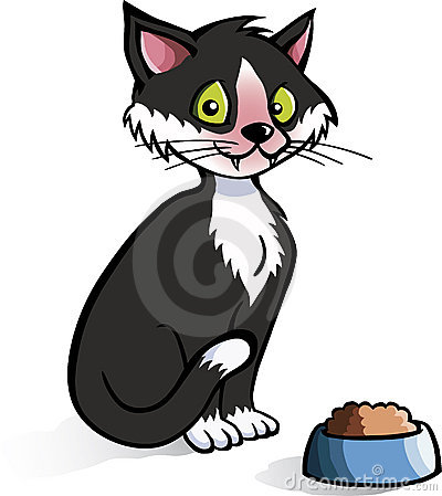 Cartoon cat with food bowl