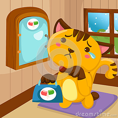 Cartoon cat injured