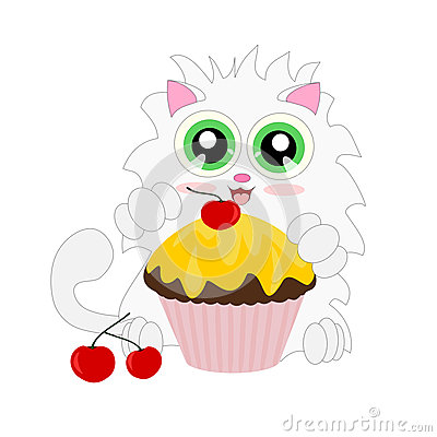 Cartoon cat with muffin