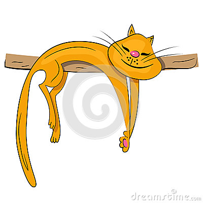 Cartoon cat sleeping and dreaming illustration