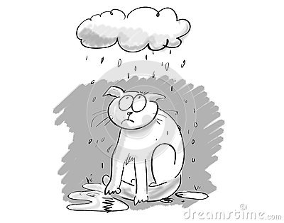 Cartoon cat under gloomy cloud