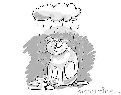 Cartoon cat under gloomy cloud